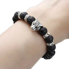 Men, Womens Synthetic Lava Beaded Healing Bracelet Leopard Head with Rhinestone