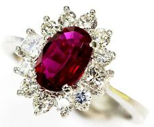 Pigeon Blood Red Ruby and Diamond  Ring 1.42 tcw  Platinum size 6