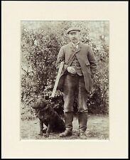 CURLY COATED RETRIEVER MAN WITH SHOTGUN DOG PHOTO PRINT MOUNTED READY TO FRAME