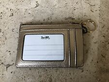 Coach Smooth Leather Mini Skinny Card Case Key Wallet Platinum/ Light Gold