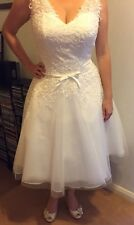 Pretty White Wedding Dress, Tea Length, Size 14, Brand New, 1950's Style