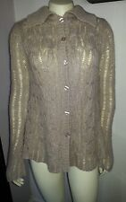 ENERGIE SZ S  WOOL BLEND BEIGE CABLE & RIBBED KNIT CARDIGAN BUTTON FRONT   NICE!