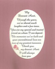 AUNT Dear Share MEMORIES Laughter TRUST Greatest TREASURE verses poems plaques