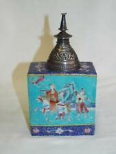Lovely antique 18thC Chinese porcelain tea caddy with white metal top.