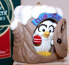 1990 NEW Hallmark Ornament CLUB HOLLOW Club OWL in Log QXC4456 MINT Never Used