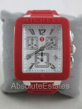 NEW Michele Jelly Bean Park Red & Silver Chronograph Watch MWW06L000011 NIB