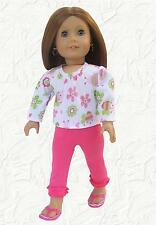Doll Clothes fit 18 inch American Girl Print Shirt and Ruffled Pink Leggings