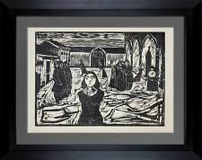 Edvard MUNCH Original WOODCUT Limited Edition, SIGNED ~Last Hour +Custom FRAMING