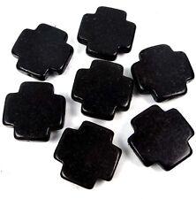 25mm Black Turquoise Cross Beads (7 pcs)