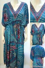 PLUS SIZE FLORAL PAISLEY KAFTAN MAXI DRESS BLUE 16 18 20 22 24 26 28 30 32 34