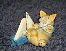 """Peter Fagan Colour Box Cat Ginger Tabby with Sailing Yacht  """"Toy Buoy"""" 3.5x2cm"""