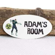 Personalised Door Name Plaque Zombie Hazard Warning Girl Boy Bedroom Room Sign
