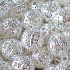50 Pièces 10mm Fer trouver Perles-Argent-a6768