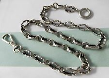 ANTIQUE SILVER PLATED FANCY LINK POCKET WATCH FOB CHAIN #402L