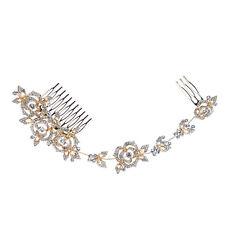 Long rose fleur cheveux Peigne nuptiale accessoires Gold Tone Strass Cristaux 2015