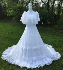 Bohemian Off Shoulder Wedding Dress Tiered Lace Boho Gown White Size 6