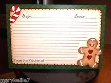 36 4 x 6 Designer Recipe Cards GINGERBREAD MAN LOWER RIGHT CANDY CANE UPPER LEFT