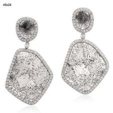 18k Gold 13.57ct Diamond Dangle Earrings Slice Diamond Jewelry