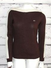 LACOSTE~WOMEN'S~BURGUNDY/IVORY~WOOL BLEND~CASUAL~WARM PULLOVER SWEATER~40