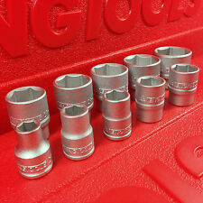 "Teng Tools 3/8"" Imperial A/F 10 Piece Socket Set, 6 Point, 5/16"" - 7/8""."
