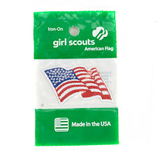 Girl Scouts Official American Wavy Flag Uniform Badge Patch New Sealed Iron On