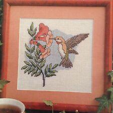 Hummingbird counted cross stitch magazine pattern, fabric & floss lot
