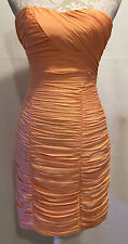 H&M Coral Orange Ruched Bodycon Homecoming Prom Fitted Mini Dress Size 6 NEW