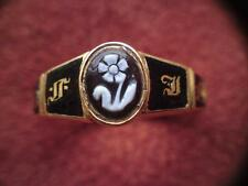Victorian 18ct gold enamel carved glass cameo memorial ring Gothic in memory of