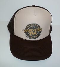 HARD ICED TEA Adjustable Trucker Hat American Vintage Cap Brown Tan Mesh NEW