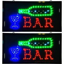 2 Bright LED Bar Tavern Saloon Pub Signs Neon Animated Lights Beer Bottle Liquor