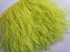 F114 PER 30cm-Lime Yellow Ostrich feather fringe Trim Brooch/Fascinator Material