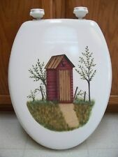 HAND PAINTED OUTHOUSE TOILET SEAT/STANDARDNEW BY MB