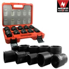"3/4"" DR DRIVE BLACK IMPACT SOCKET WRENCH TOOL SET DUAL SIZE METRIC AND SAE"