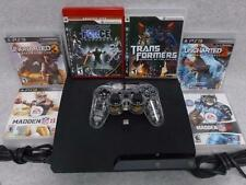 Sony PlayStation PS3 Slim 120 GB Black Console Bundle CECH-2001A + 6 Games WORKS