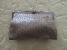 VINTAGE BOTTEGA VENETA BROWN DISTRESSED LEATHER BROWN CLUTCH BAG MADE IN ITALY