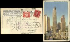 POSTAGE DUE GB 1938 1d on PPC from USA ROCKEFELLER CENTER...4 TYPES of DUE MARK