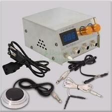 LCD Digital DUAL Machine Tattoo Power Supply Foot Pedal Round Switch 2 Clip Cord