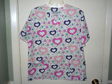 Natural Uniforms  Scrub Top Medical/Dental/Vet Size XS  Hearts All Over New