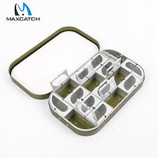 Aluminium Fly Box Dark Green 16 Compartments Leaf Clear Lid Fishing Tackle Boxes