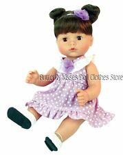 3PC Lavender Polka Dot Dress Doll Clothes For 15 in American Girl Bitty Twin