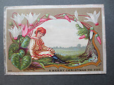 Antique Christmas Card Eyre & Spottiswoode 222 CHROMO Boy in Red Hat Cyclamen