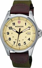 Wenger Men's Champagne Dial Green Fabric and Brown Leather Strap Watch 72783
