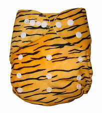 Modern Reusable Washable Baby Cloth Nappy Nappies & Insert, Minky Tiger
