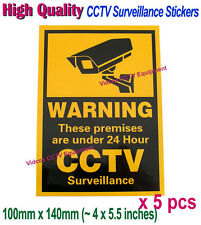 5x CCTV Video Surveillance Security Camera 24 Hour Warning Sticker Adhesive Sign