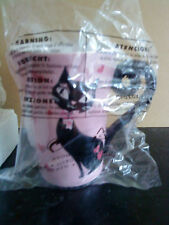 Avon coffee/Tea mug in a black cat and heart theme on a pink background