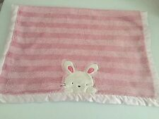 Carters Pink White Bunny Rabbit Baby Blanket Stripes Satin Edge Back Plush Soft