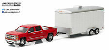 1:64 GreenLight *HITCH & TOW* RED 2015 Silverado w/WHITE Enclosed Car Trailer