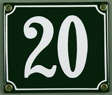 """Grüne Emaille Hausnummer """"20"""" 14x12 cm Hausnummernschild sofort lieferbar Schild"""