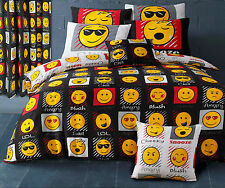 Black & White Emoji Smiley Face Expression Reversible Duvet Set & Curtains NEW