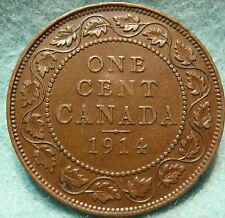 1914 XF-AU CANADA LARGE CENT George V COIN NoRes CANADIAN  -.